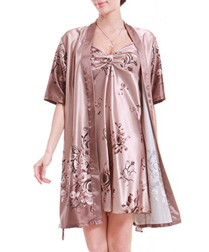 Damen Seide Nachthemd mit Morgenmantel kurz Nachtkleid Schlafkleid ...