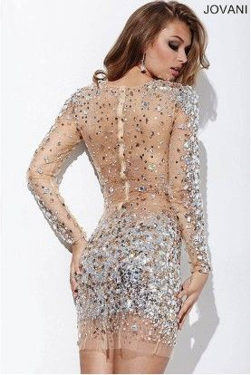 10952be2 Jovani 171300 Long Sleeve Jeweled Sheer Short Dress Nude | Prom and ...