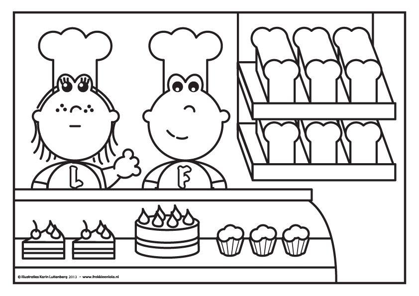 Kleurplaat Frokkie En Lola Als Bakker Kleuters Thema Beroepen