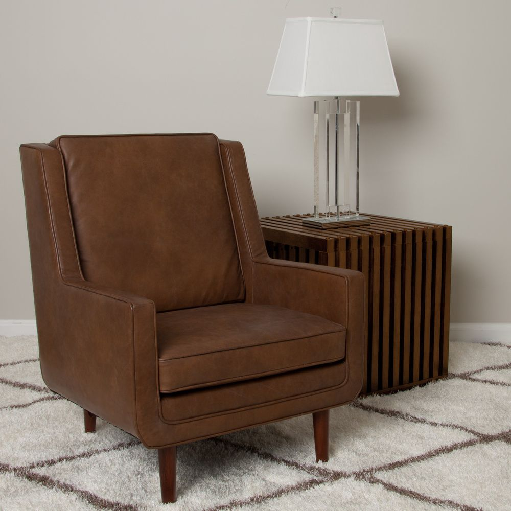 Moss Oxford Leather Tan Accent Chair   Overstock™ Shopping   Great Deals On  Living Room