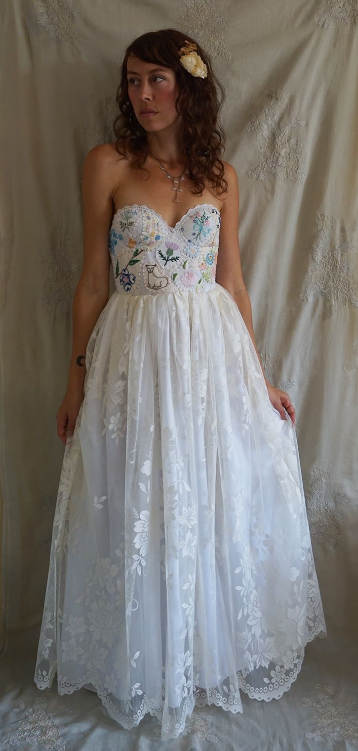Meadow Wedding Gown by Fable Dresses... hand embroidered boho ...