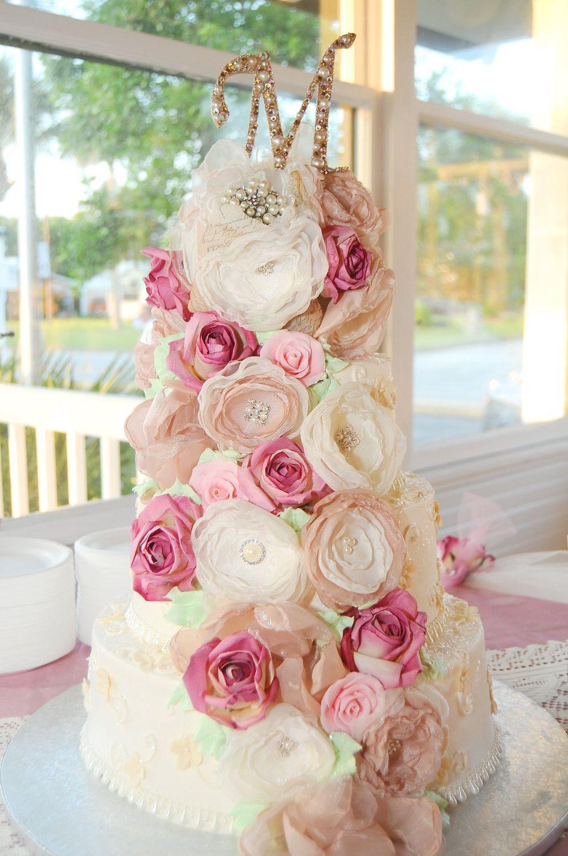 shabby chic bridal shower cakes%0A Wedding Cake Fabric Flowers  Cake decorations Cake Topper  Bridal Shower  Cake decor