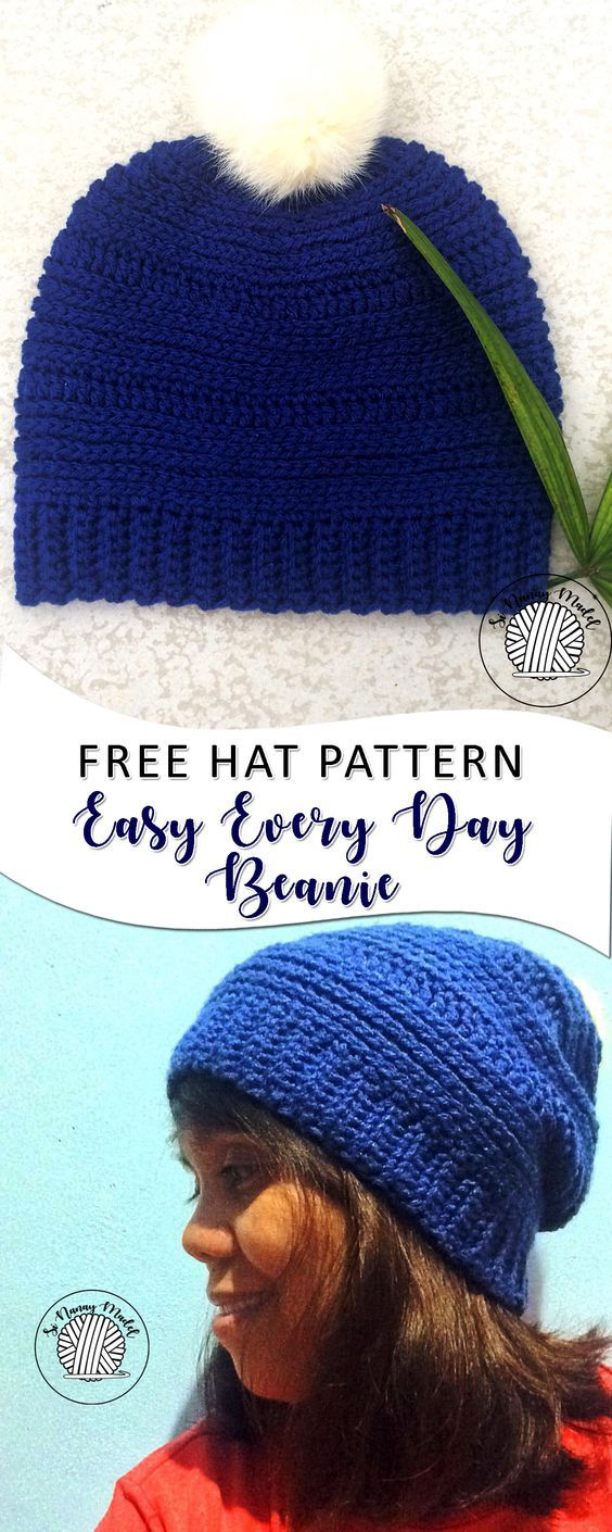 Easy Every Day Beanie | Free crochet, Crochet and Crochet beanie hat