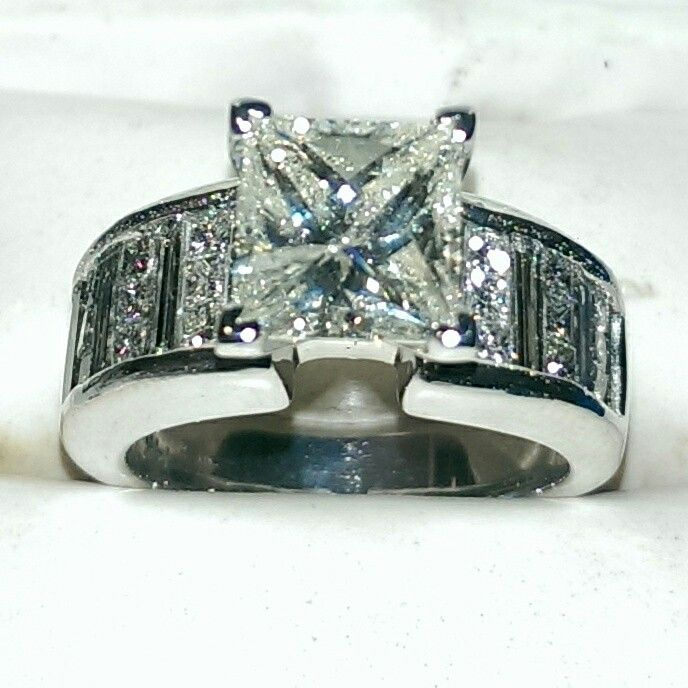 5 carat diamond engagement ring set in 14k white gold Jewelry