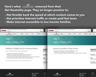 Here's what Comcast removed from their net neutrality page via /r/technology https://greenground.it/2017/12/16/heres-what-comcast-removed-from-their-net-neutrality-page-via-r-technology/?utm_campaign=crowdfire&utm_content=crowdfire&utm_medium=social&utm_source=pinterest