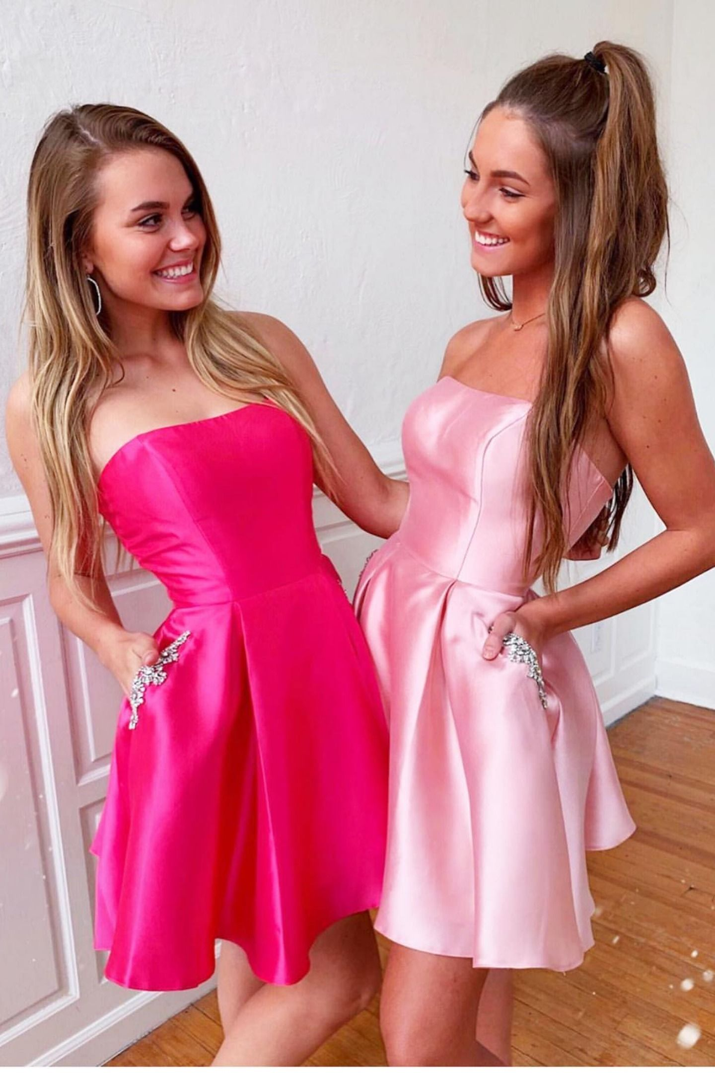 Elegant strapless pink satin dress with beading