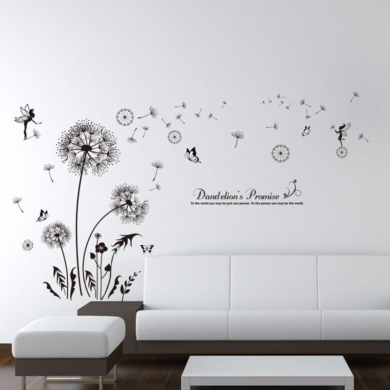 [SHIJUEHEZI] Black Dandelion Wall Stickers Vinyl DIY ...
