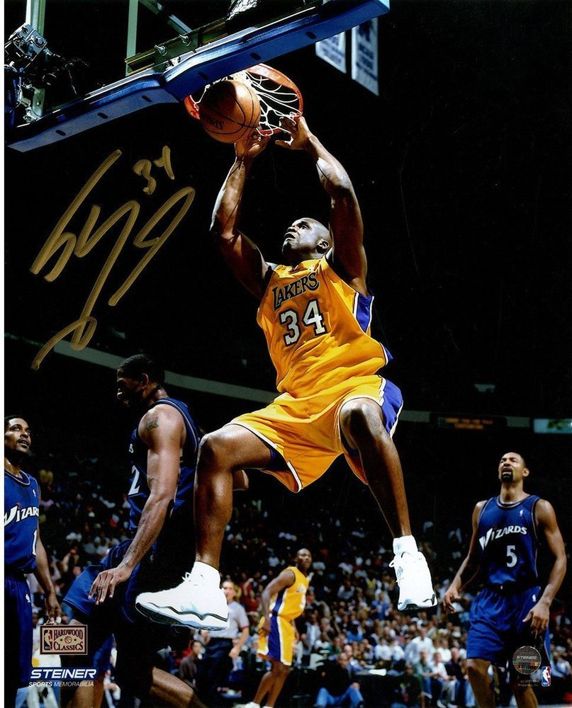 59a4fe4b736 Shaquille O'Neal Signed L.A. Lakers Yellow Jersey Two Handed Dunk 8x10  Photo (