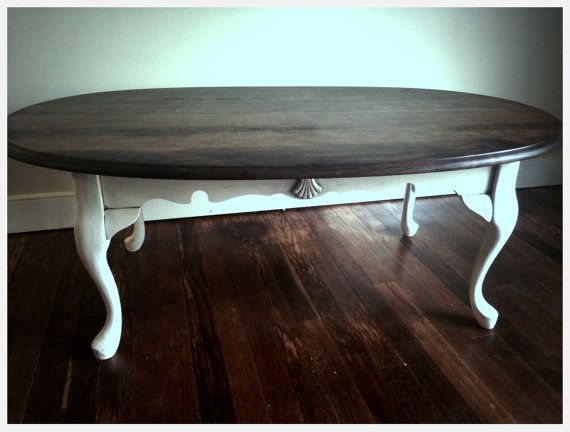 distressed antique white queen anne coffee tableanalia pastori