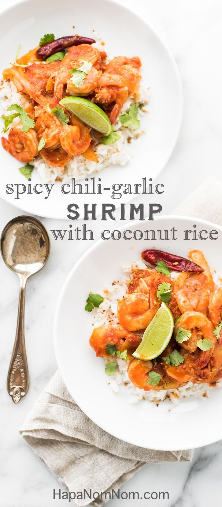 Lime, Coconut, & Shrimp - the Trifecta is Compete in This Burmese-Inspired Spicy Chili Garlic Shrimp with Coconut Rice and a Squeeze of Fresh Lime. Healthy and Totally Delicious!