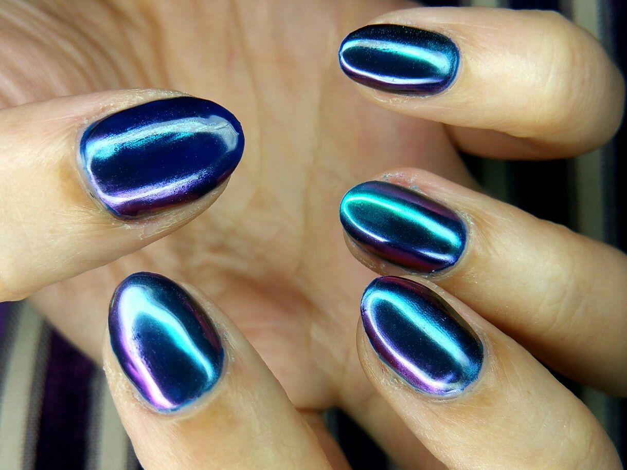 Petrol colour metallic powder on gel nails   Beauty Stuff: Hair ...