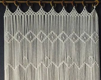 Macrame Kitchen Curtain Custom Short Macrame Wall Hanging Hollywood Regency Curtains Rustic Valance Bohemian Boho Chic Eclectic Decor 70 S Fabric Room Dividers Bamboo Room Divider Metal Room Divider