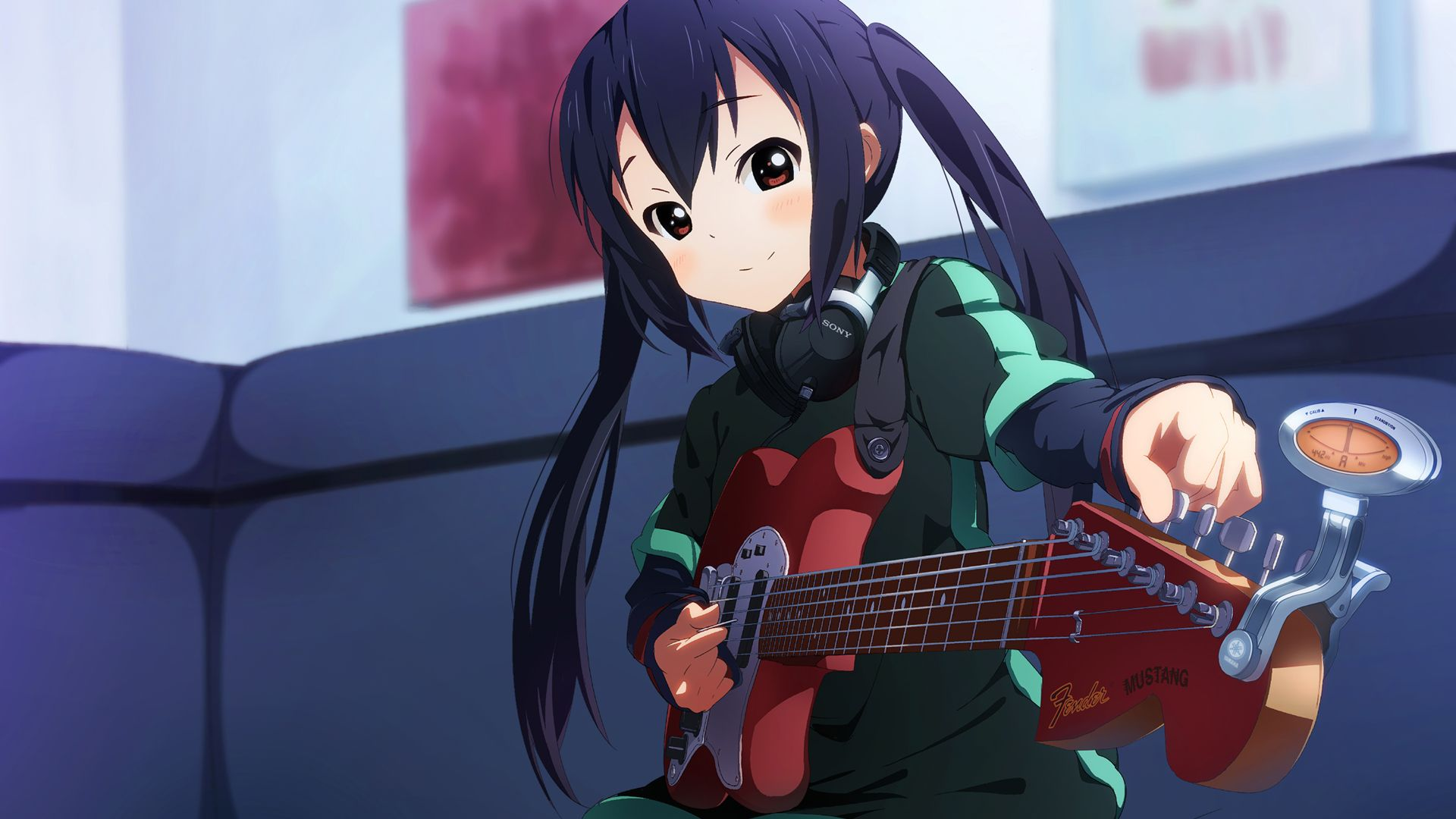 K On Black Hair Brown Eyes Bun150 Guitar Instrument Long Hair Nakano Azusa Twintails Wallpaper 1920x1080 125783 Wallpa Azusa Anime Brown Eyes Black Hair