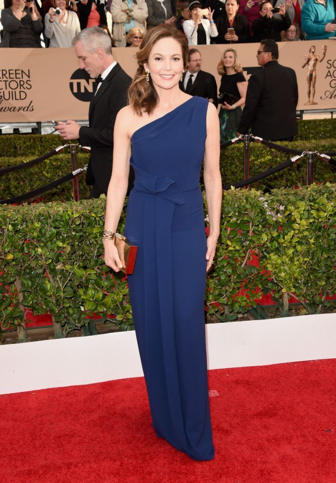 Diane Lane in a dark blue column gown at the 22nd Annual Screen Actors Guild Awards at The Shrine Auditorium on January 30, 2016 in Los Angeles, California.