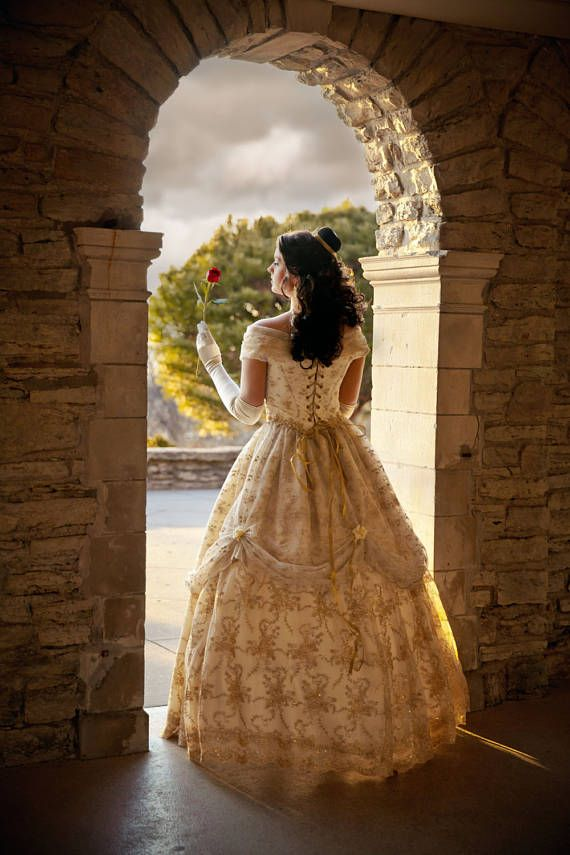 Beauty And The Beast New Style Belle Wedding Gown Ivory Gold Wedding Dresses Wedding Dress Styles New Wedding Dresses