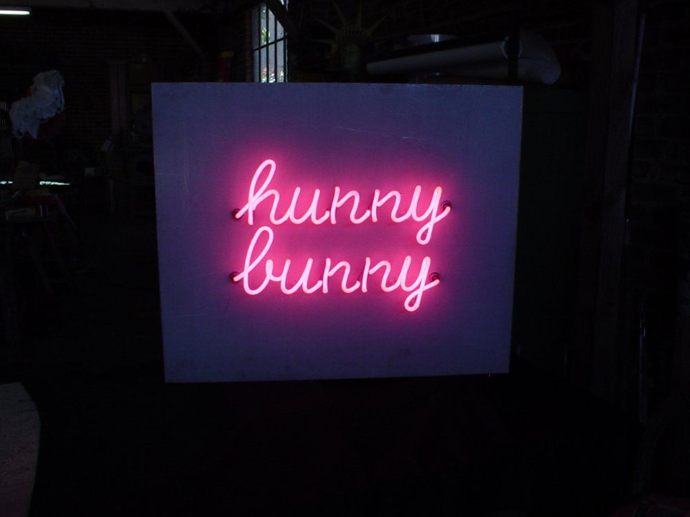 Aargon Neon Lights Light Up Hanging Wall Sign Typography Cute Amp Pink Script Hunny Bunny