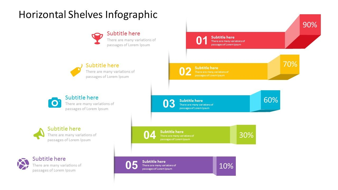 horizontal shelves infographic powerpoint template fully editable