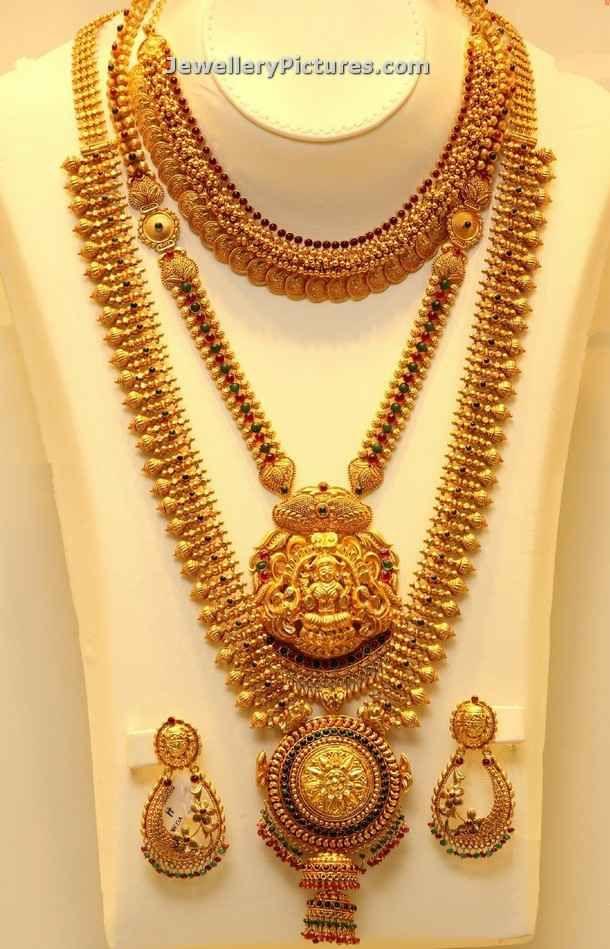 antique mini short length kasulaperu and lakshmi pendant mini haram paired with