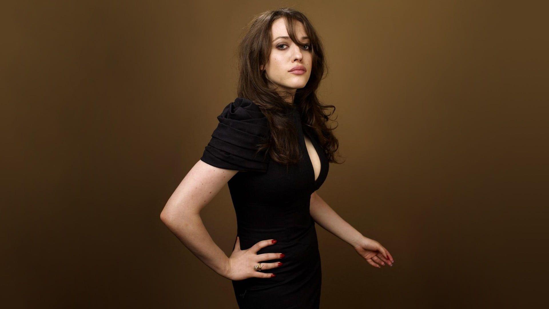 Hd Wallpaper Women S Black Dress Kat Dennings Brunette Womens Black Dress Black Dress Dresses [ 1080 x 1920 Pixel ]