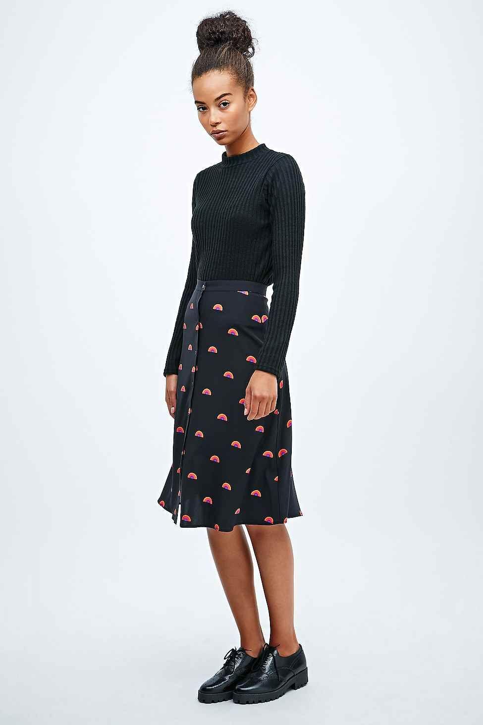 Lulu & Co Rainbow Print Midi Skirt in Black