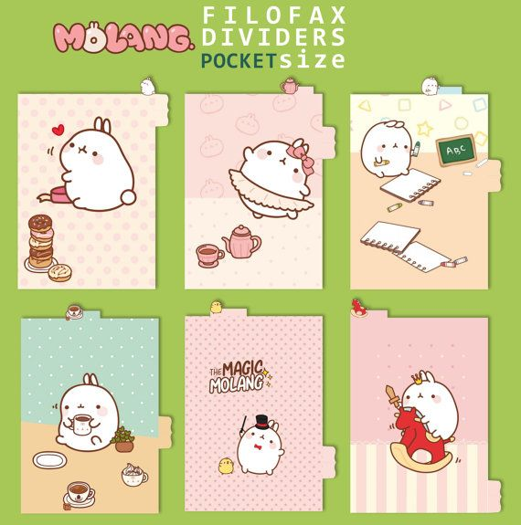 Dividers with top tab for Filofax POCKET ...Molang...