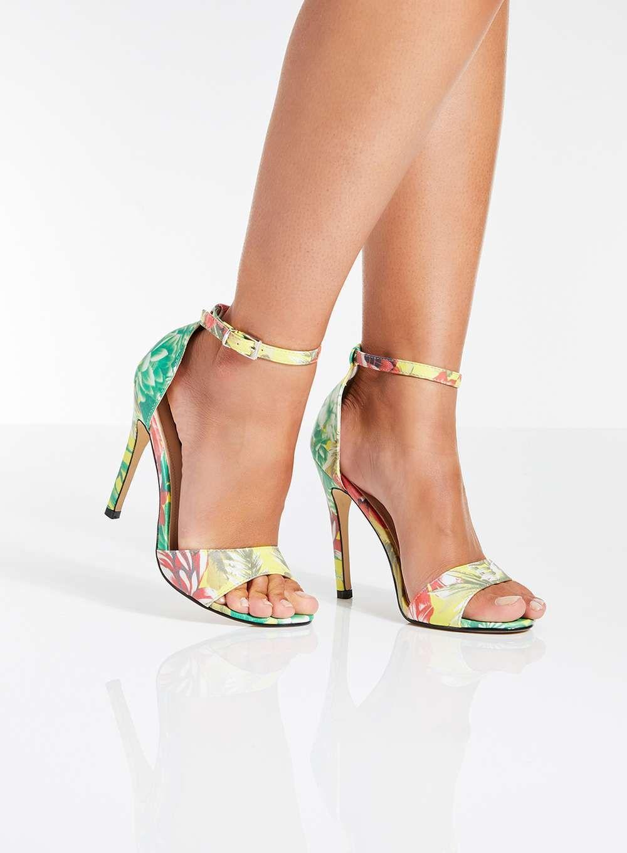 c7b95bf212c4 Womens  Quiz Multi Coloured Tropical Floral Design Sandals- Multicolour