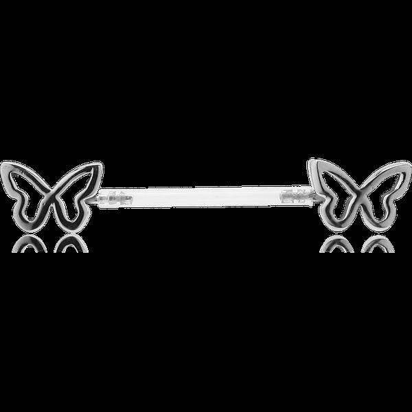 Deux petits papillons se posent délicatement sur le téton, un beau piercing de poitrine.