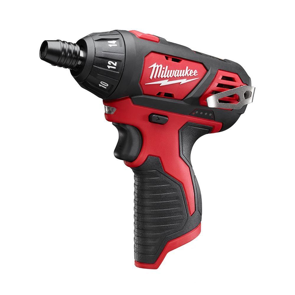 Milwaukee M12 12 Volt Lithium Ion Cordless 1 4 In Hex Screwdriver Tool Only 2401 20 Screwdriver Tool Milwaukee M12 Milwaukee