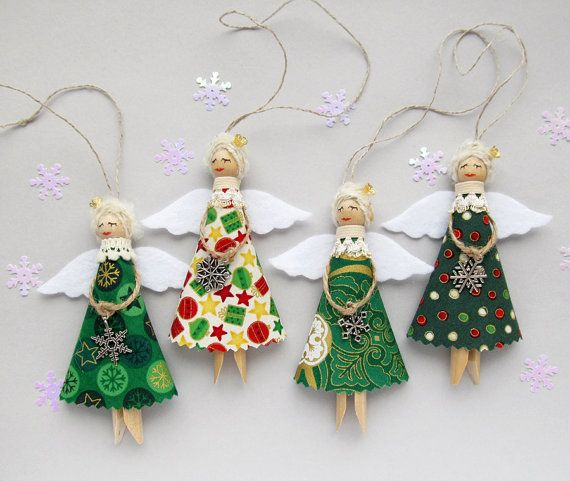 Christmas Ornaments, Green Christmas Angels, Tree Decorations – SET of 3