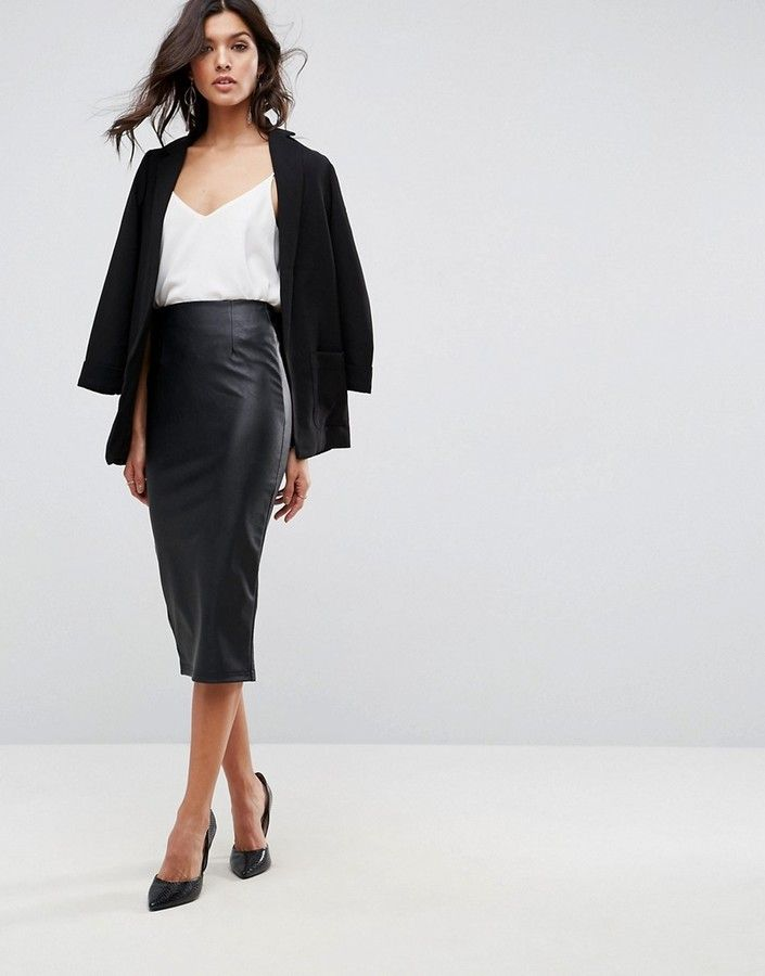 9a2366b293a6 ASOS Sculpt Me Leather Look Pencil Skirt | Luv Leather | Black ...
