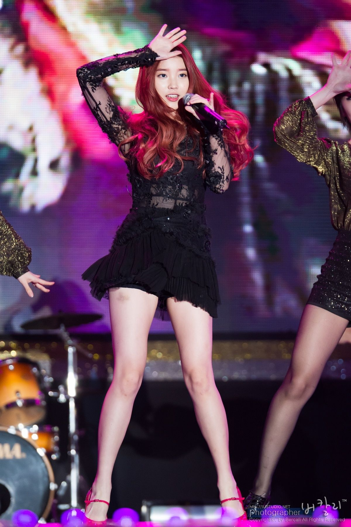 Top 10 Sexiest Outfits Of IU - 1. Black lace dress with see through arms and stomach. | sexy ...