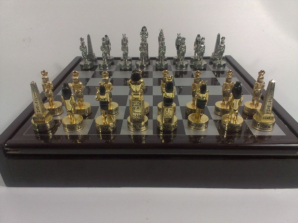 egyptian sphinx metal chess set gold silver tone magnet chessmen