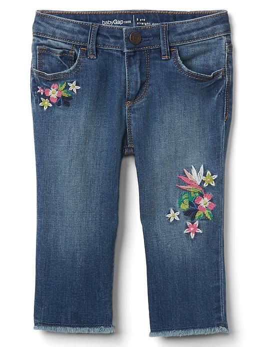 06ce76d31ca Gap Baby Stretch Distress Embroidery Straight Crop Jeans Galaxy Blue Size  12-18 M