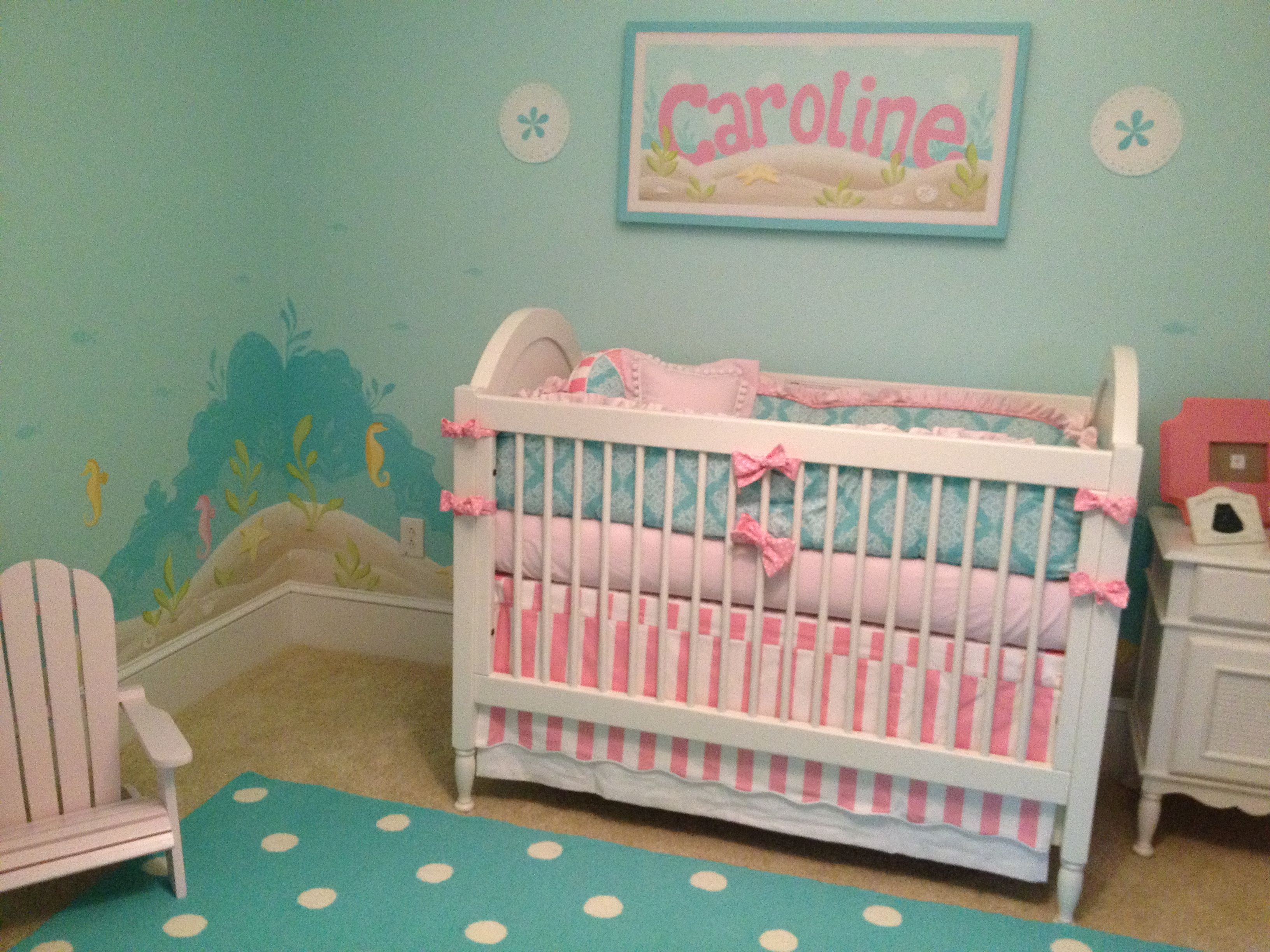 Beach themed nursery for baby Caroline Beach