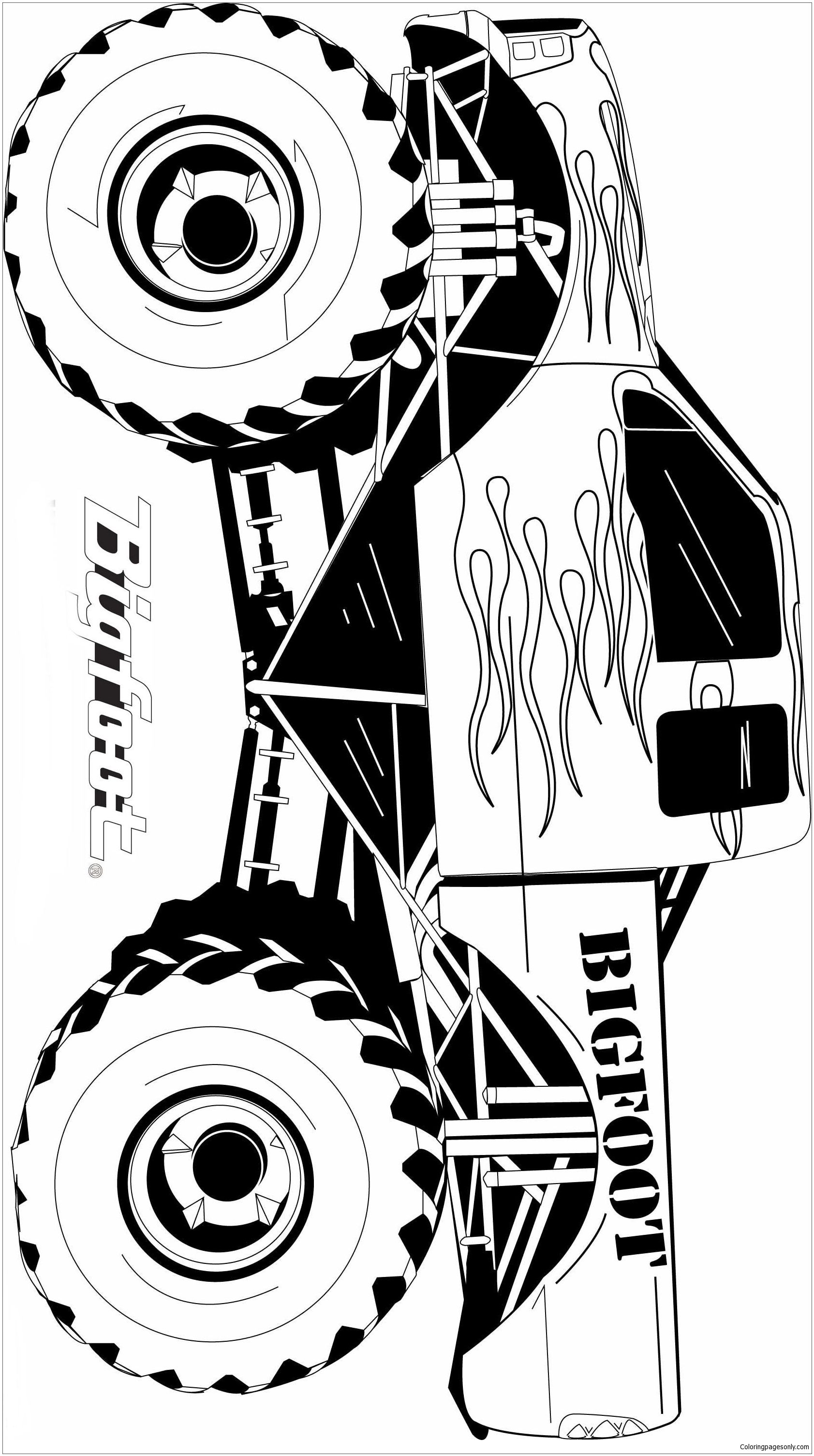 Famous Monster Truck Bigfoot Coloring Page: Here is a coloring image ...