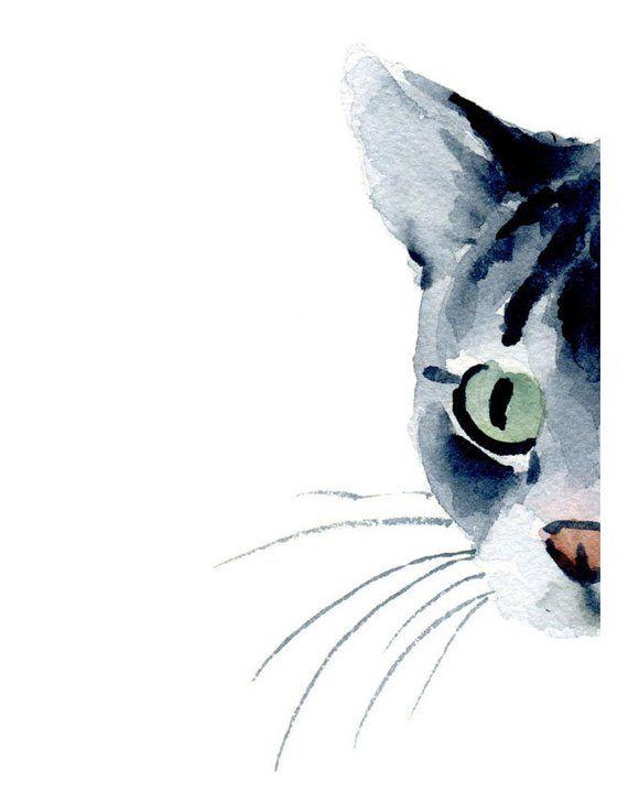 Photo of Acuarela atigrada – gato atigrado gris – impresión artística – decoración de la pared – pintura