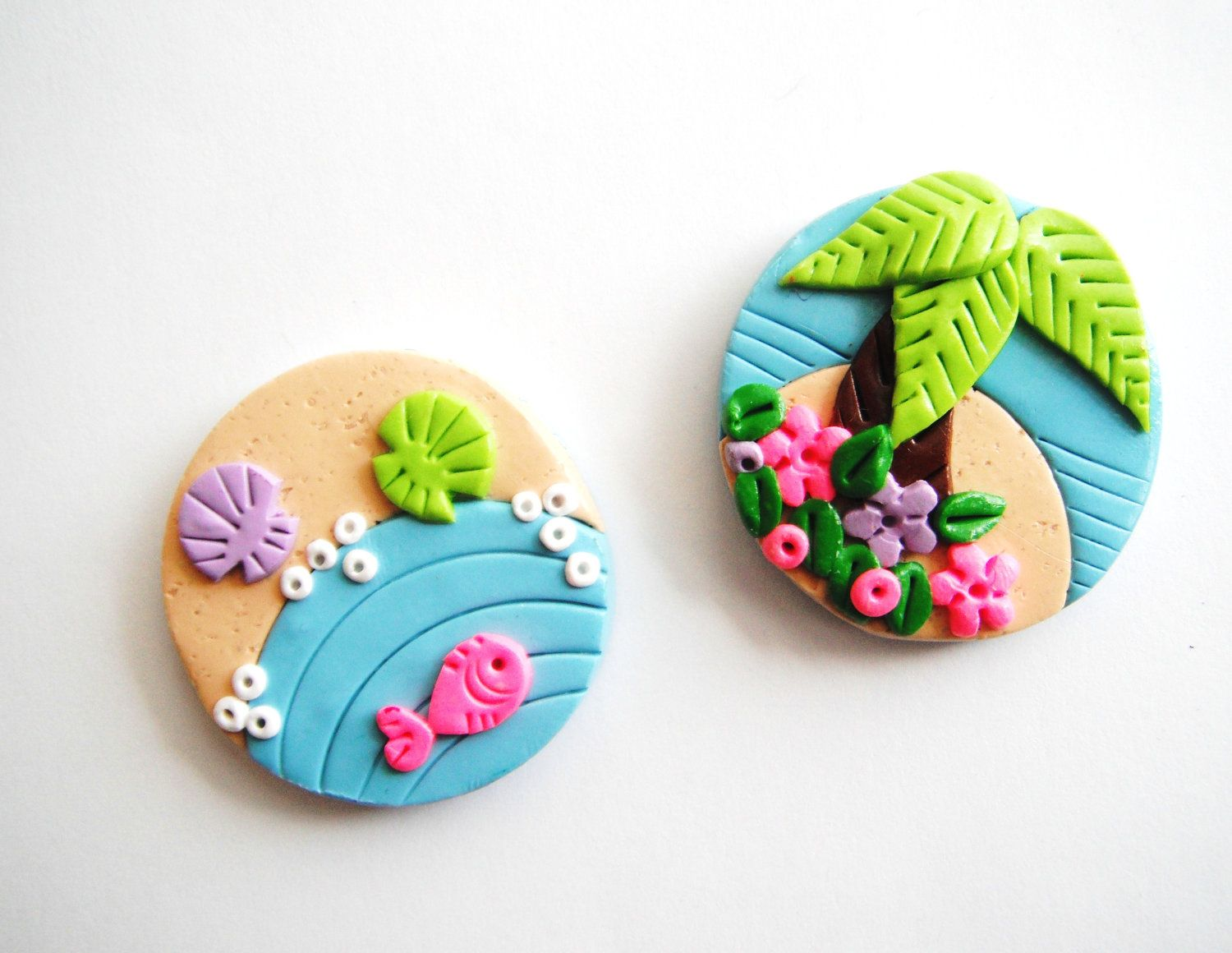 Magnet Tiny Island handmade polymer clay magnets ( 2 ). $9.00, via Etsy.