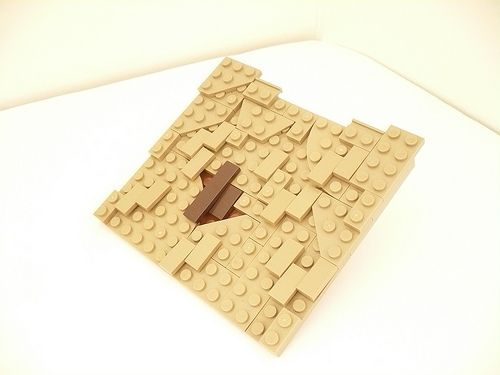 Using regular bricks in v shape * roof: step by step shown