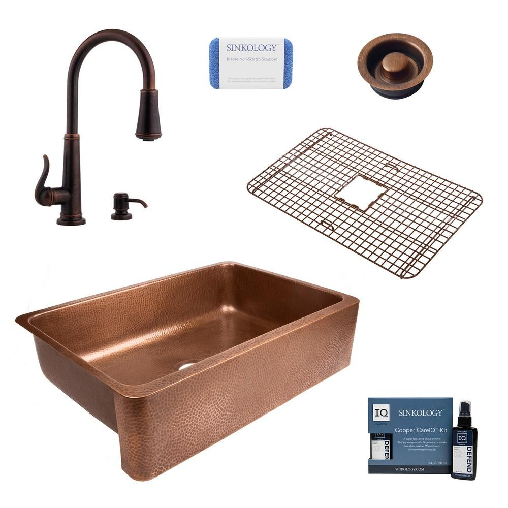 Sinkology Lange All In One Farmhouse Apron Front Copper 32 In Single Bowl Kitchen Sink With Pfister Faucet And Drain Sek307 Gt529d Single Bowl Kitchen Sink Copper Farmhouse Sinks Sink