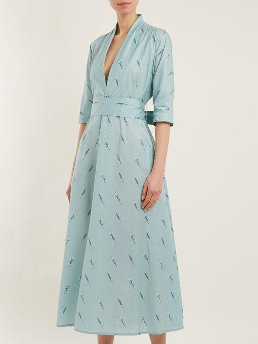 Deep V-neck printed cotton-blend dress Luisa Beccaria twhYF
