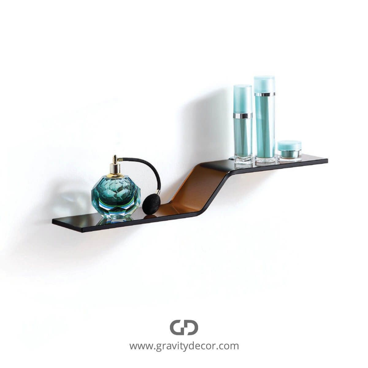 WAVE BROWN GLASS SHELF WITH SILVER CHROME BRACKETS $79.99 IN STOCK ...