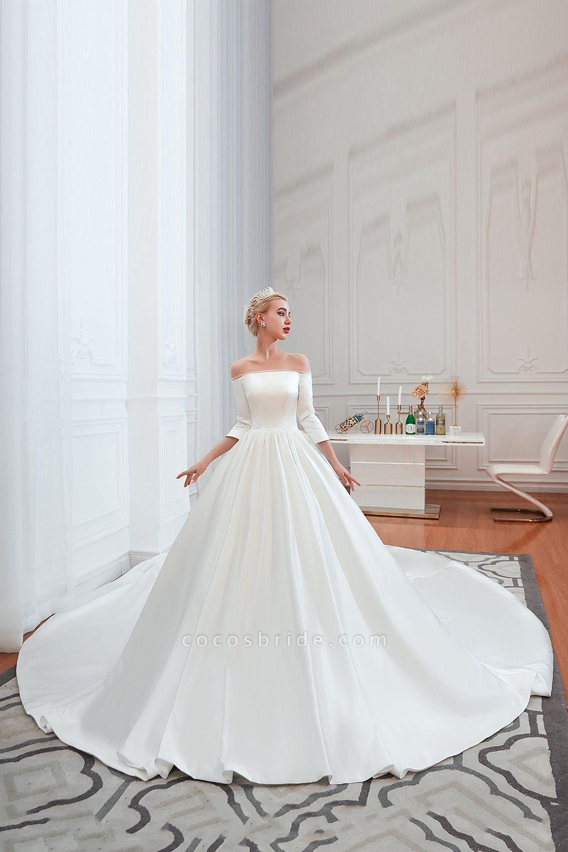 Off Shoulder Lace up Satin A line Wedding Dress   Online wedding ...