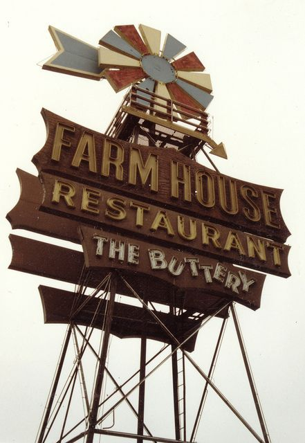 Arnold's Farm House Restaurant, Buena Park-- I remember spotting the lit windmill sign off the 5 freeway on drives home from our annual Disneyland trip.