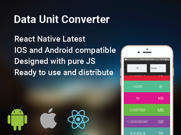 Data Unit Converter React Native By Akinozgen This Cross Platform Converts Selected Number To All Other Units