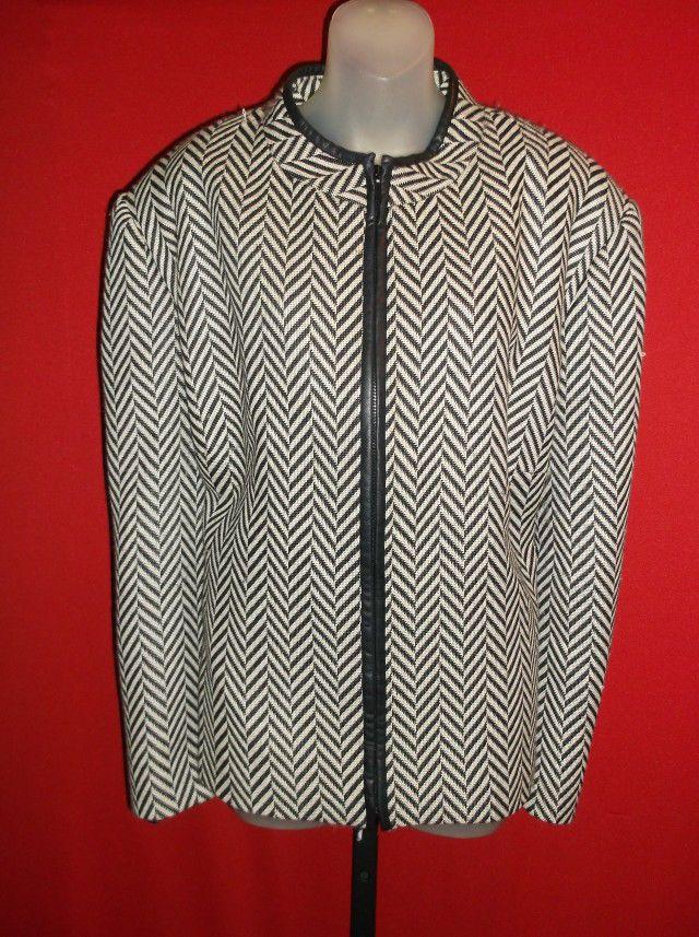 VINTAGE OSCAR de la RENTA Wool leather look trim Striped Coat Jacket 24W 2x  3x   51cdd1c0cb8