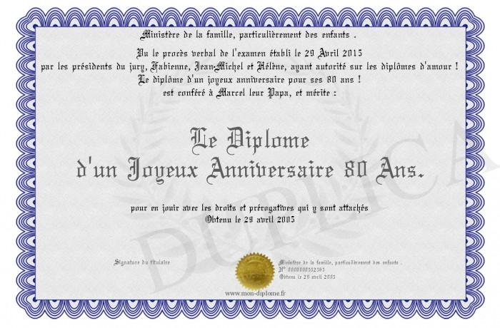 Joyeux Anniversaire 80 Ans Lovely Le Diplome D Un Joyeux