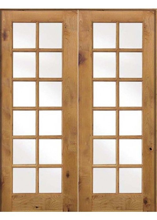 Krosswood Knotty Alder Int 12 Lite With Tempered Glass Double Doors French Patio Doors In 2019 Frosted Glass Interior Doors Wood Exterior Door Double Doo