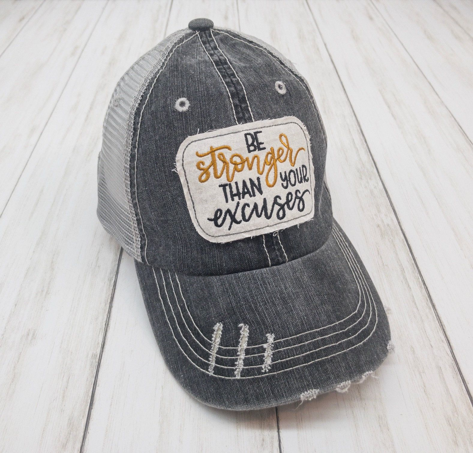 Be stronger than your excuses embroidered glitter raggy