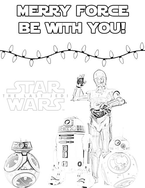 star wars christmas coloring pages The Last Jedi Droids Holiday Coloring Page for Christmas or  star wars christmas coloring pages