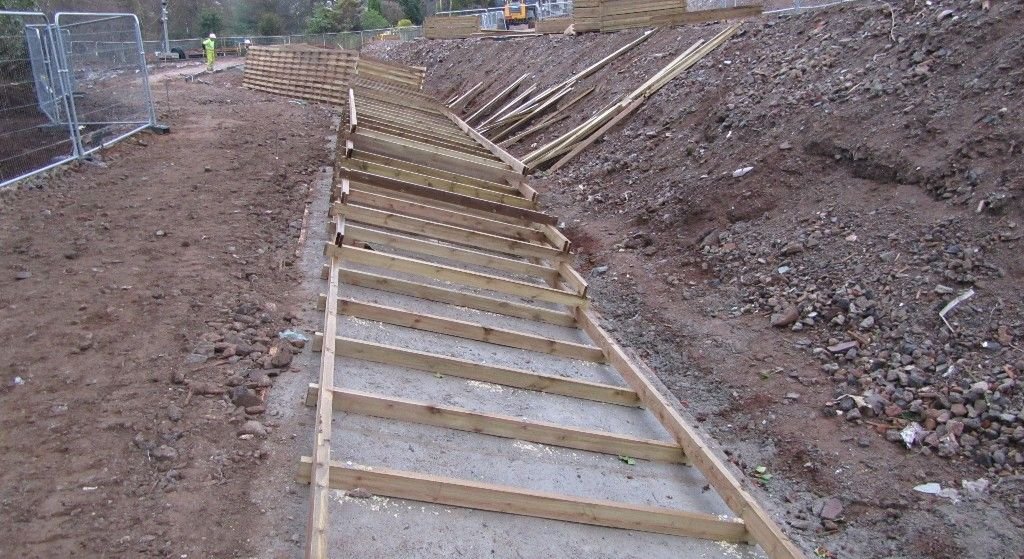 Timber Crib Retaining Wall Gets Underway To The South Of The Site Harrisacademydundee Retaining Wall Crib Wall Dundee